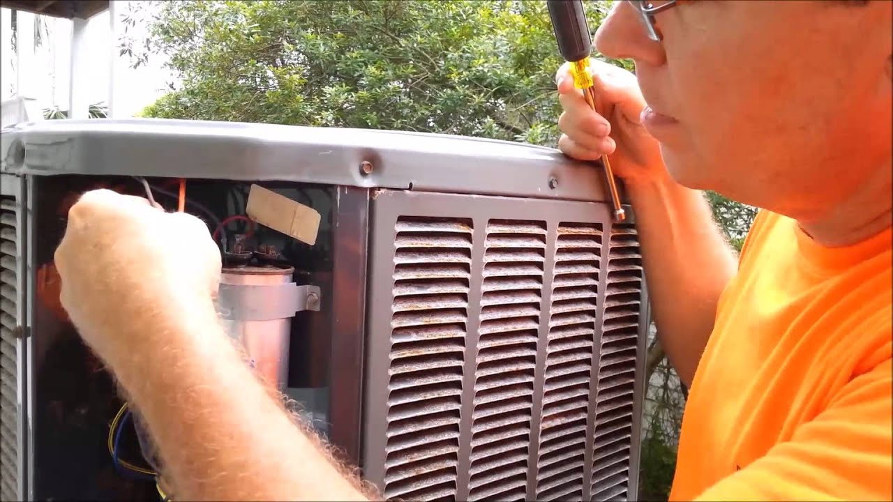 Air Conditioner Compressor Wiring Diagram Hvac Trane Unit Stopped By Run Capacitor Failure Youtube