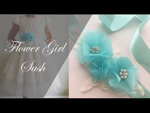 a60beb9de DIY Sash : Flower Girl Dress - YouTube