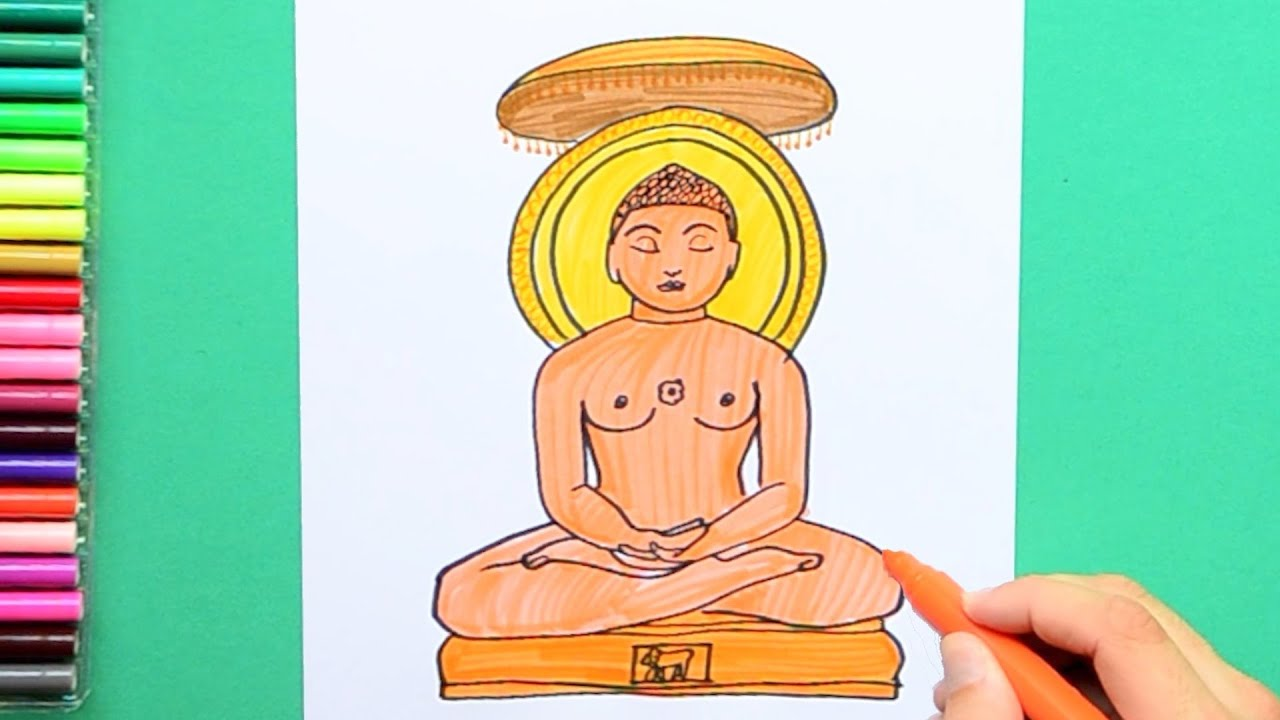 how to draw and color bhagwan mahavira jainism youtube