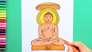 How to draw and color Bhagwan Mahavira (Jainism)