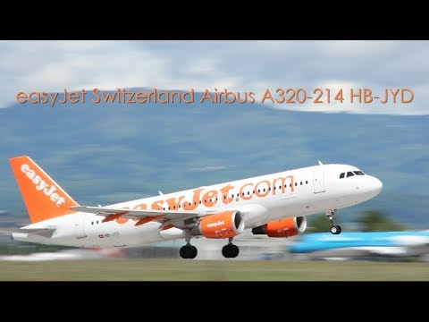 easyJet Airbus A320-214 - HB-JYD taxi and takeoff at EuroAirport Basel Mulhouse Freiburg