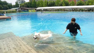 We went to the Swimming pool with Milky~!!