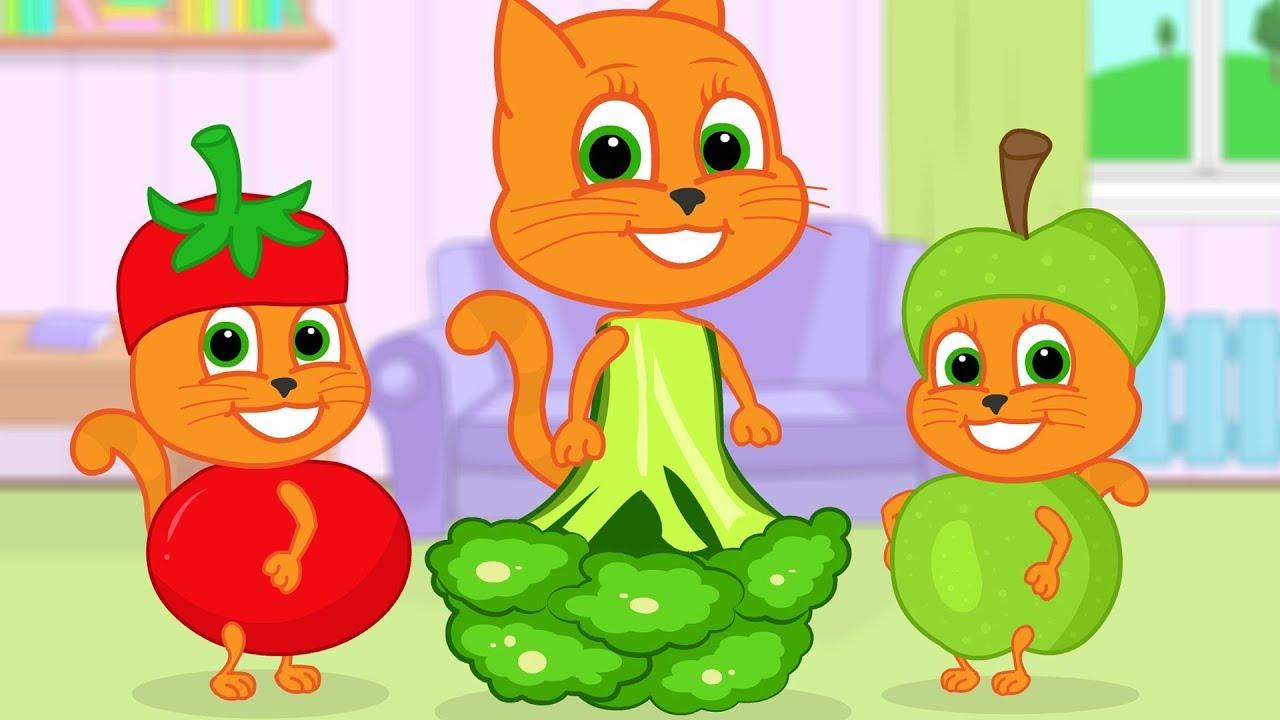 Familia De Gatos Vestidos De Verduras Dibujos Animados Para Niños