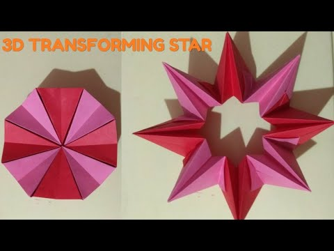 Easy Origami 3D Magic Circle Fireworks / Transforming star 🌟 Paper Toy