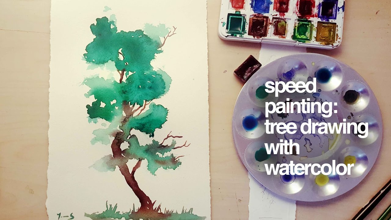 speed painting: tree drawing with watercolor ( suluboya ile agaç nasıl çizilir)