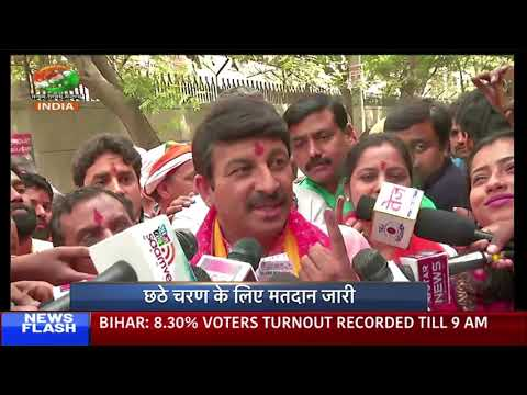 BJP leader Manoj Tiwari interacts with media after casting vote in Delhi | DD INDIA Exclusive