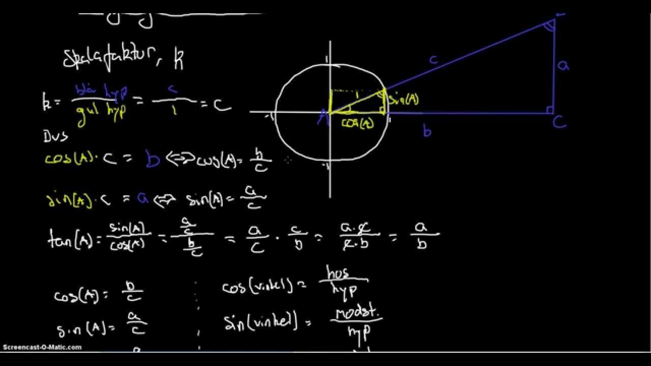 beregninger i retvinklede trekanter