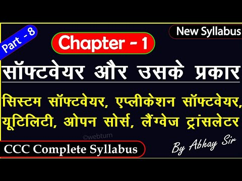 Software & Types Of Software|System,Application,Utility,Language Translator|CCC Complete Course