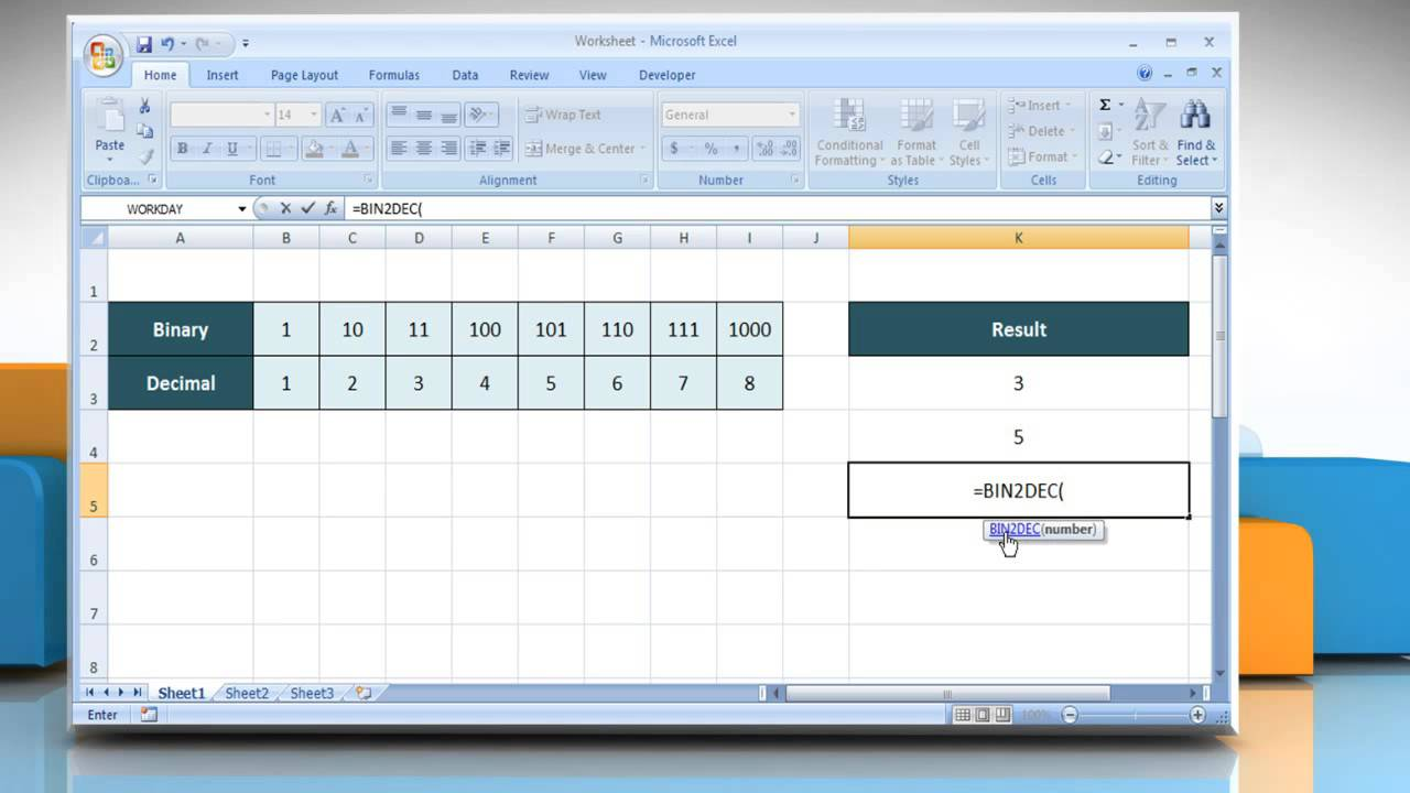 How to use the BIN2DEC function in Excel