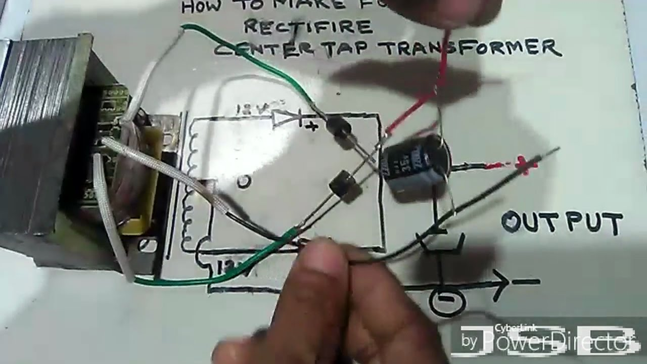 how to make full wave rectifier with center tap transformer and 2 diode yt 33 [ 1280 x 720 Pixel ]