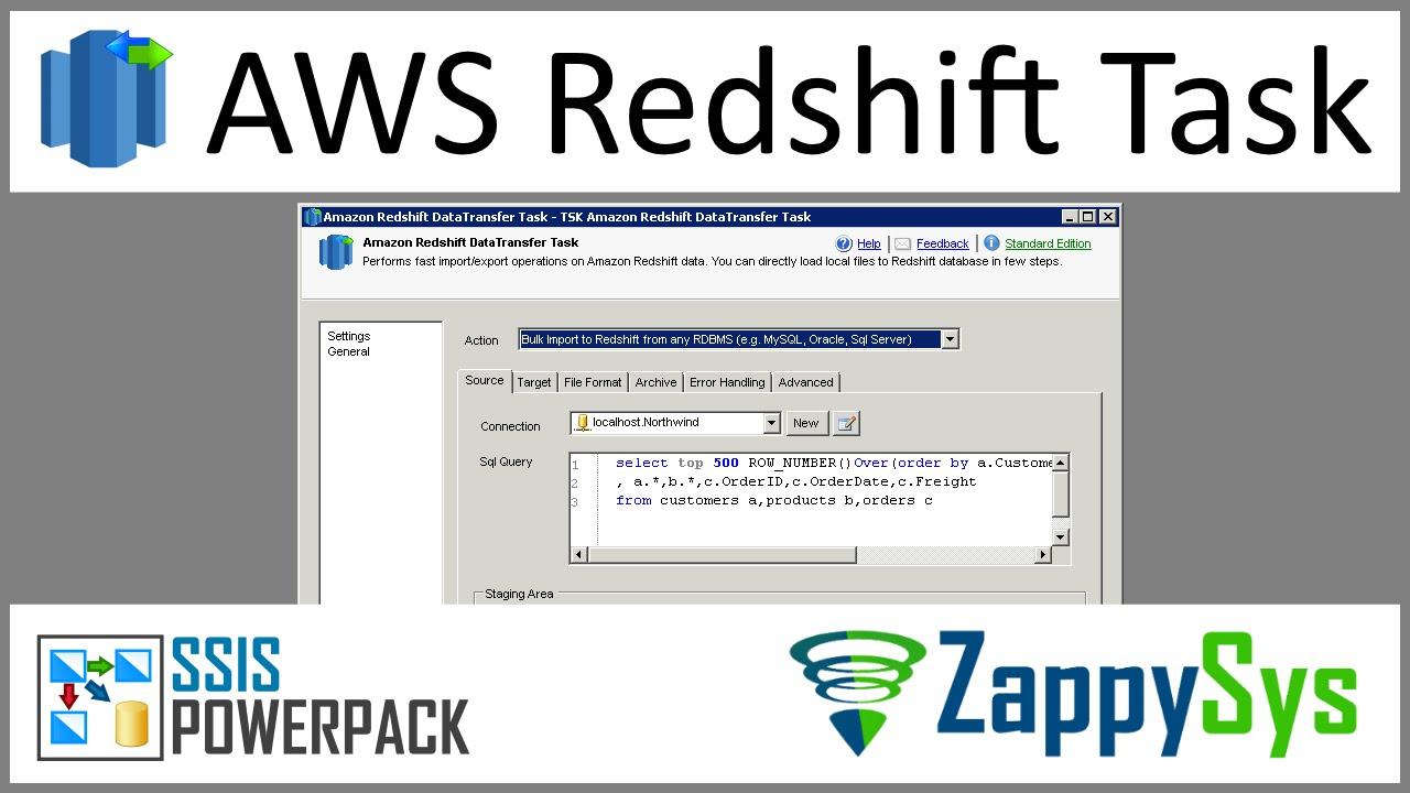 SSIS Amazon Redshift Data Transfer Task - Load Data into Redshift from SQL  Server, MySQL, Flat Files