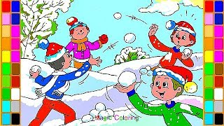 Snowball  Fight - Fun Winter Activities - Learn How to Draw and Coloring Pages