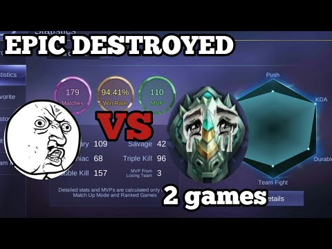 SMURF vs EPIC = EPIC DESTROYED | DESTROYING EPIC RANK | mobile legends bang bang