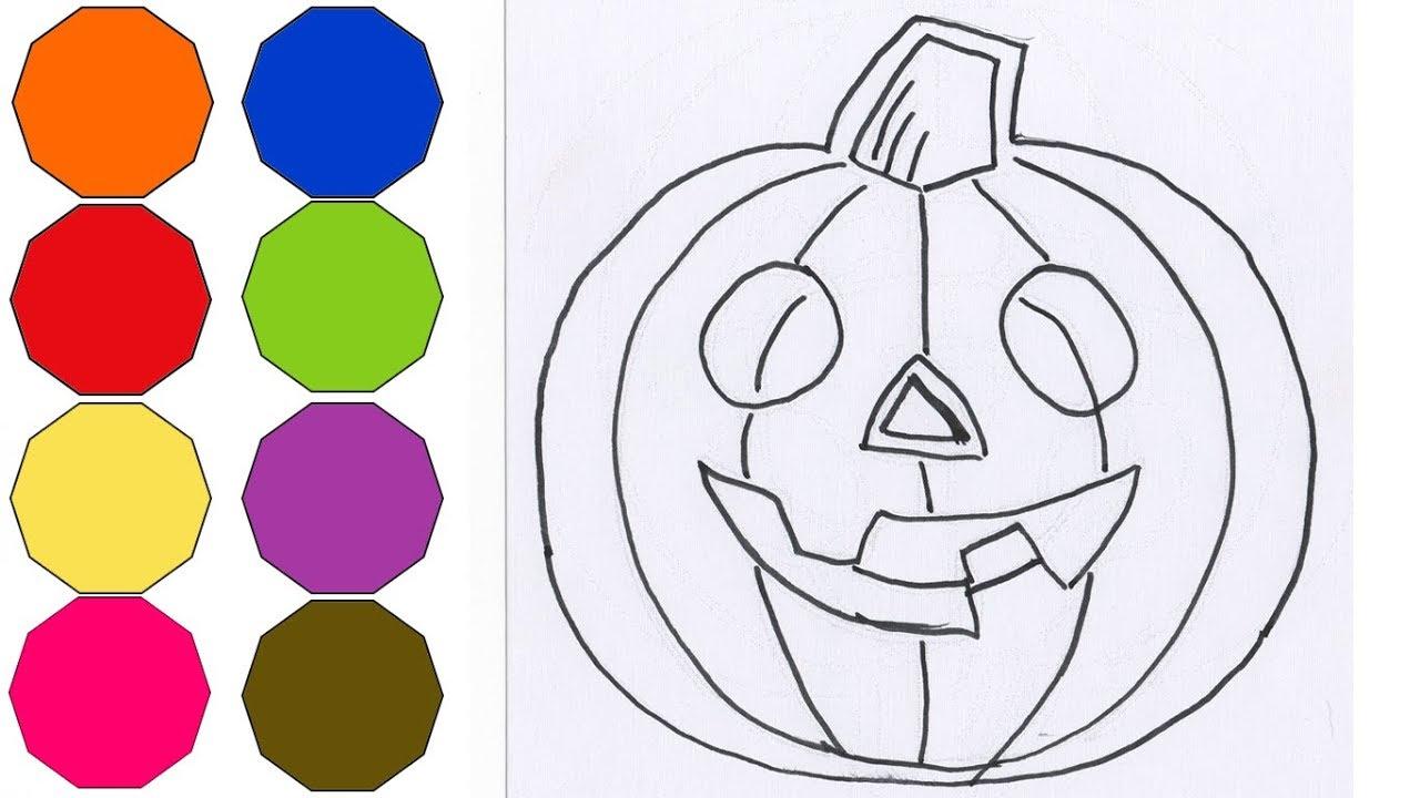 Como dibujar y pintar una calabaza muy fácil | How to draw a ...