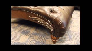 Tufted Leather Victorian Era Chaise Lounge / Accent Chair