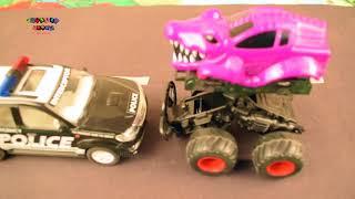 Good Vs Evil | Police Car | Scary Monster Truck For Kids | Trucks For Children