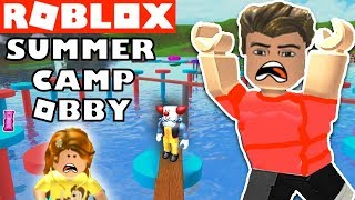 WE ESCAPE SUMMER CAMP OBBY (Roblox Obstacle Course Video Game) YG Family Gaming Challenge?