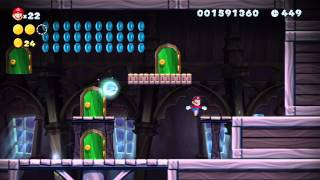 New Super Mario Bros. U (Wii U) - Frosted Glacier-Ghost House Walkthrough (1-Player)