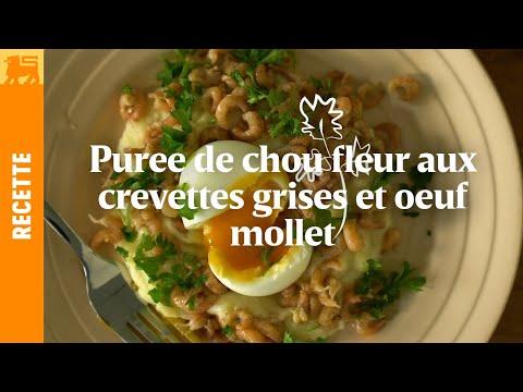 Puree de chou fleur aux crevettes grises et oeuf mollet