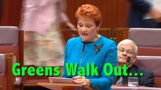 Greens Walkout on Pauline Hanson During Maiden Senate Speech