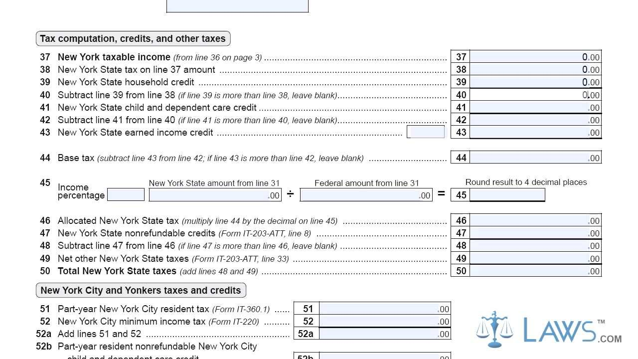 Form IT 203 X Amended Nonresident and Part Year Resident Income ...