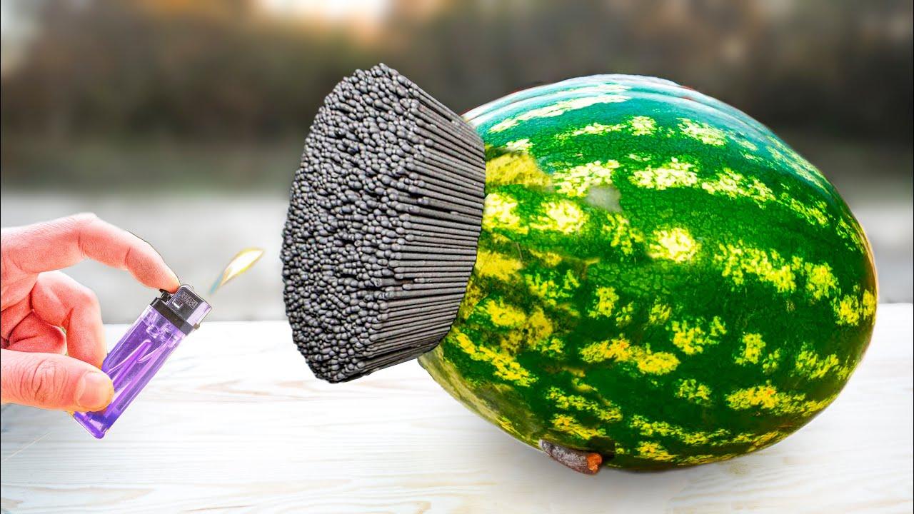 EXPERIMENT : WaterMelon VS Sparkling Bengal Light