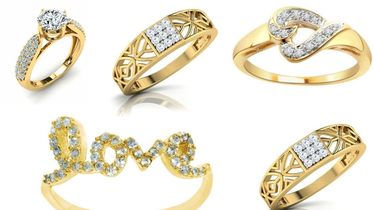 Engagement Gold Rings With Diamond Stone For Girls Diamond Stone