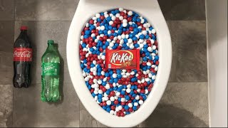 Will it Flush? - Coca Cola, Sprite, Red White Blue M&M's and Kit Kat Candy