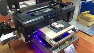 УФ принтер А3+P400UV печать на силикатном стекле с праймером