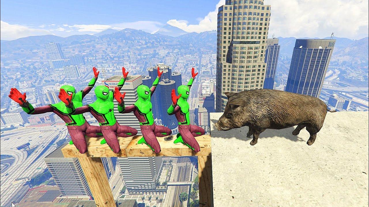 GTA 5 Crazy Ragdolls Green SPIDERMAN VS BOAR (Euphoria Physics, Ragdolls, Fails, Funny Moments)Funny
