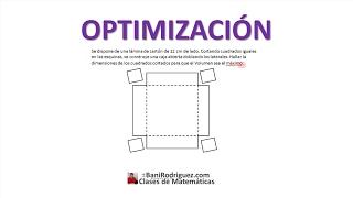 Optimización: Máximo volumen -El Profe Bani