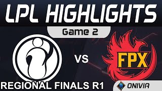 IG vs FPX Highlights Game 2 Round 1 LPL Regional Finals 2020 Invictus Gaming vs FunPlus Phoenix by O