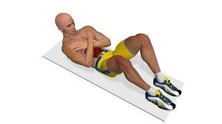 Упражнения для мыщц живота: Подъемы туловища со скрещенными руками