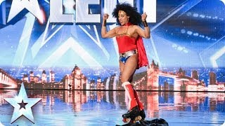 Rollerskating Wonder Woman Mzz Kimberley - Born This Way | Britain's Got Talent (Short Version)