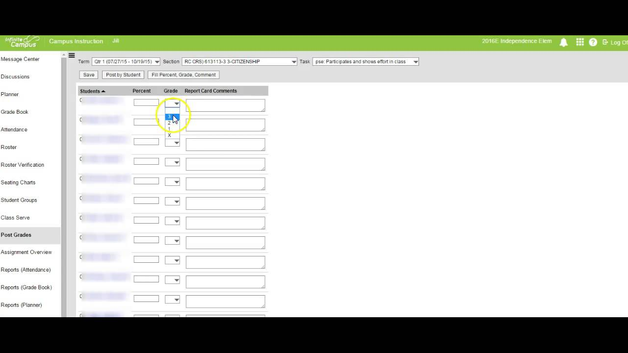 Infinite Campus Adding Grades to Report Card - YouTube