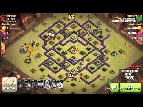 Clash of Clans - th9 Quatro lavaloonion 3 star