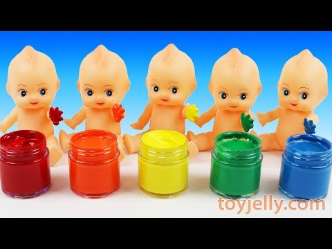 Learn Colours Hand Body Color Paint Finger Family Nursery Rhymes Compilation with Baby Doll rerere