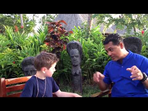 Sam, age 8, interviews Johnny, resident marine biologist at Jean-Michel Cousteau.