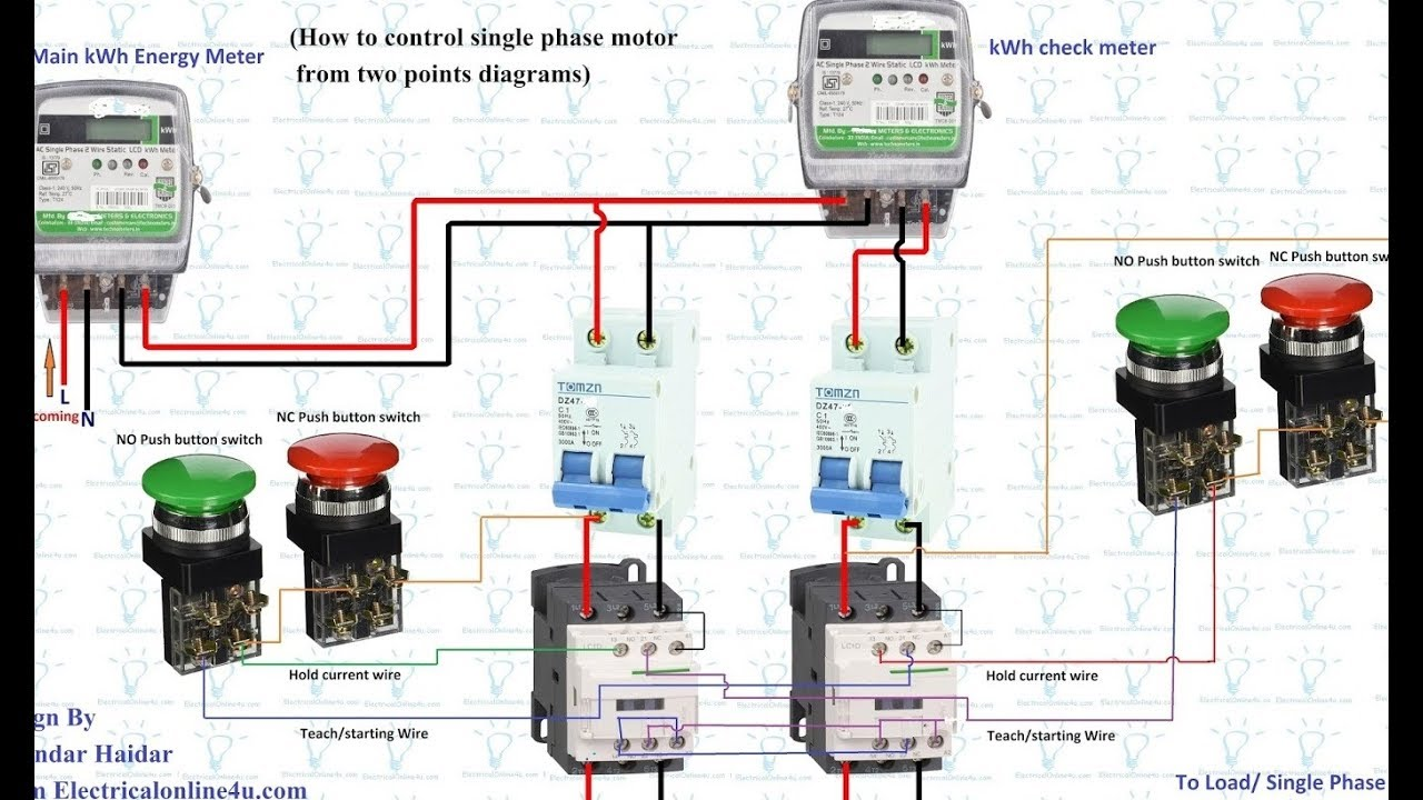120v Pump Wiring Diagram How To Control Single Phase Motor From 2 Points Diagram