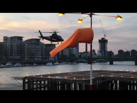 Agusta A109E taking off from London Heliport   June 2017