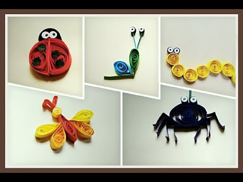 Five Easy Quilling Insects | Quilling Art | Spider | Ladybug | Snail | Dragonfly | Worm