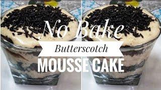 #ButterscotchMousseCake #nobake Butterscotch Mousse Cake Recipe (No baking)