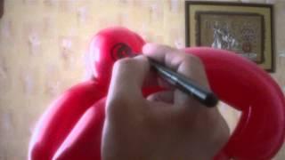 Как нарисовать глаза попугаю из воздушных шариков. How to draw eye on balloon. Легков.