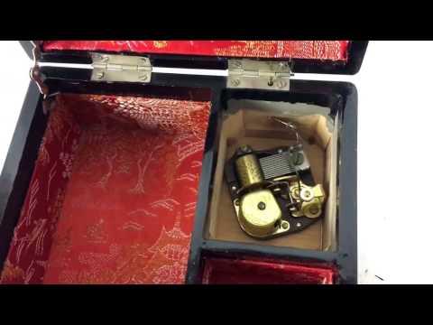 Vintage Jewelry Music Box Lock Key Rare Old Chinese Chinatown Inlay Working