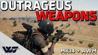 OUTRAGEOUS WEAPONS - AWM+MK14 (crazy loadout) - PUBG