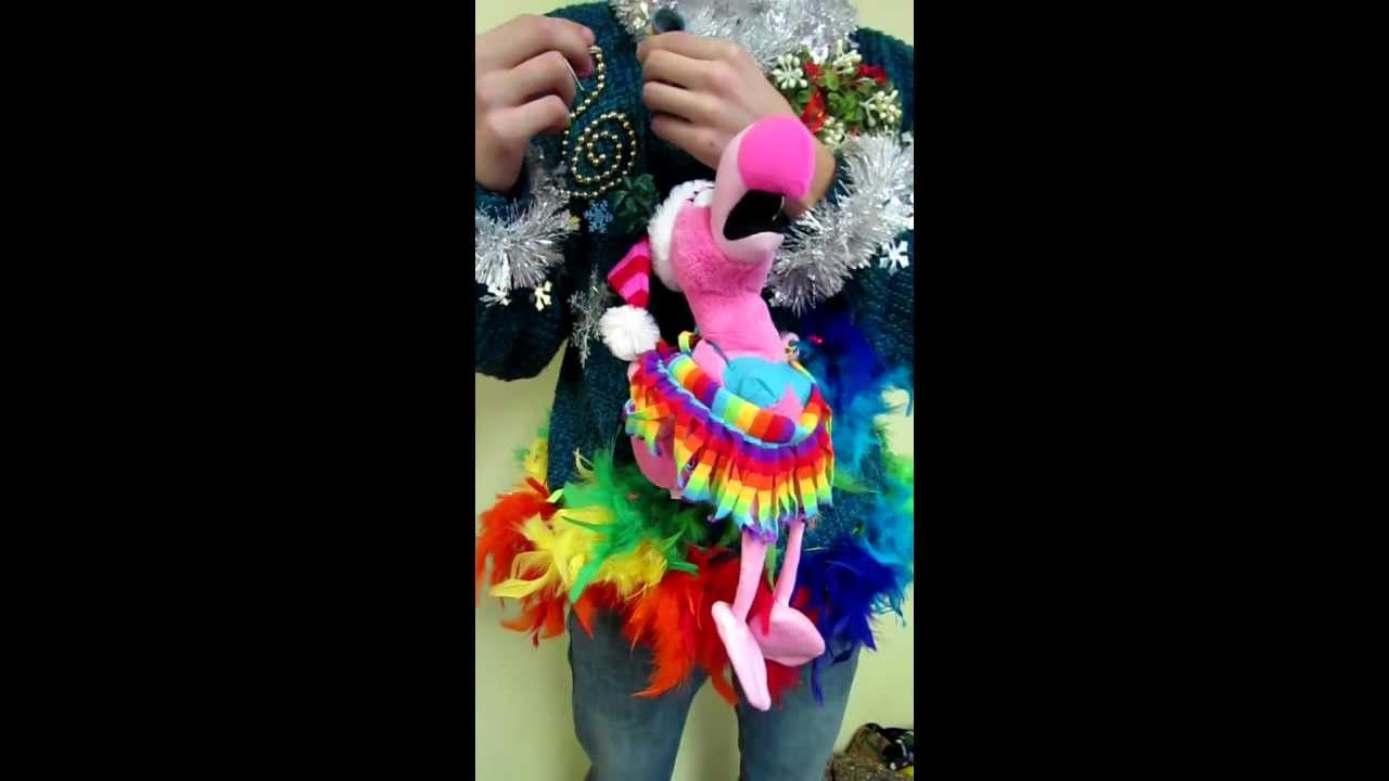 light up rainbow foofoo animated singing flamingo ugly christmas sweater for sale