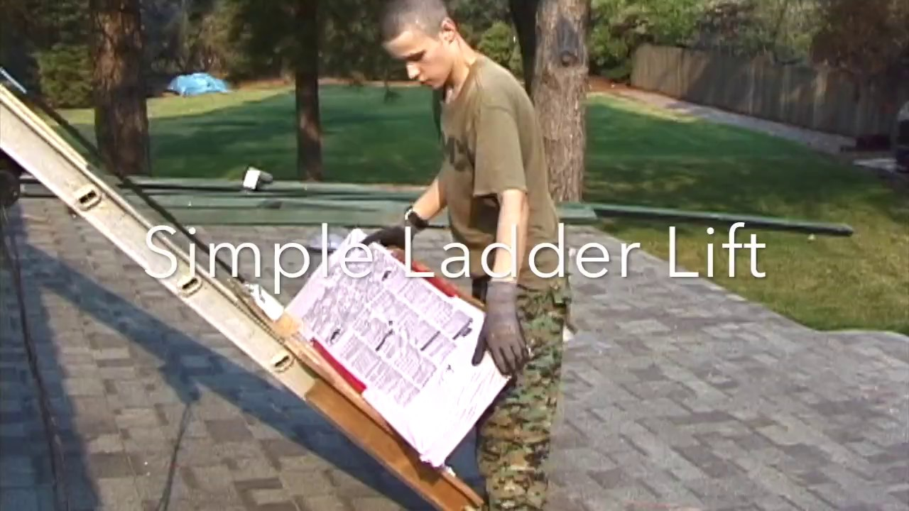 Simple Diy Ladder Lift Asphalt Shingles On The Roof Youtube