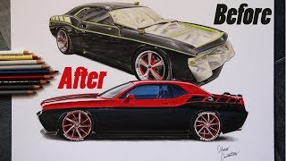 Before and After on the Same Paper! Dodge Challenger RT Car Drawing
