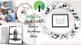 DOLLAR TREE DIYS | BLACK & WHITE MODERN FARMHOUSE DECOR | BUFFALO CHECK | EASY & ALL UNDER $5!| FALL