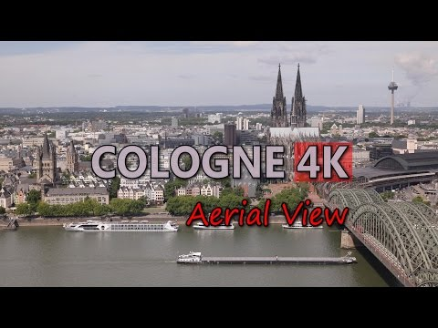 Ultra HD 4K Cologne Travel Germany Tourism Aerial View Tourist Sightseeings UHD Video Stock Footage